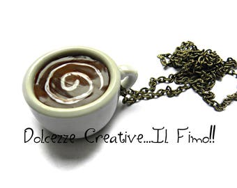Necklace with a big Cup of coffee, decorated with cream - Miniature - gift idea