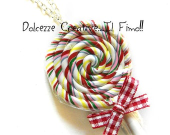 pastel Rainbow Lollipop lollipop necklace goth kawaii multicolor