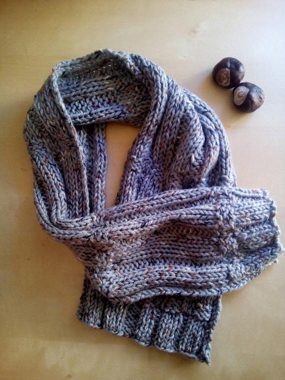 los angeles andare online di alta qualità Sciarpa per uomo fatta a mano ai ferri in lana tweed grigio | Etsy
