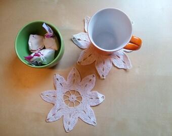 Handmade crochet flower coaster