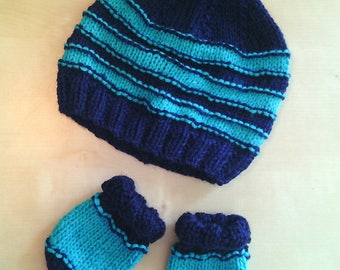baby wool hat and mittens complete stripes green and blue handmade tricot