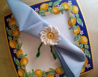 Towel door daisy crochet-table decorations-crocheted flowers-Easter-wedding favor crochet-white flowers crochet