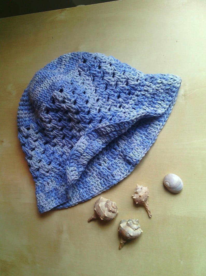 cap summer cloche ecological cotton blue delav\u00e8 cotton crochet hat for girls