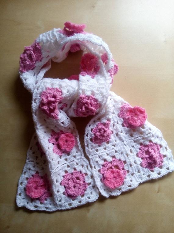Granny Square Schal Häkeln Baby Rosa Weiß Und Häkeln Etsy