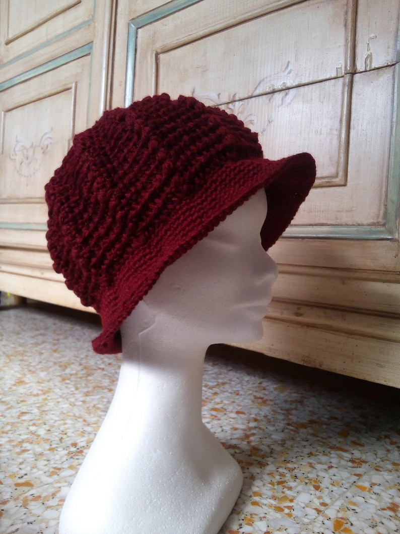 Cappello Cloche In Lana Alluncinetto Donna Bordeaux Etsy