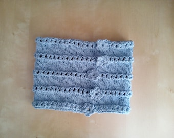 crochet wool neck scarf for child heavenly blue scarf with crochet flower-child-snood-infinity scarf