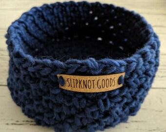Wool Bowl, Wool Basket, Bowl, Basket, Crochet Bowl, Navy Bowl, Handmade Bowl, Yarn Bowl, Decorative Bowl, Housewarming Gift