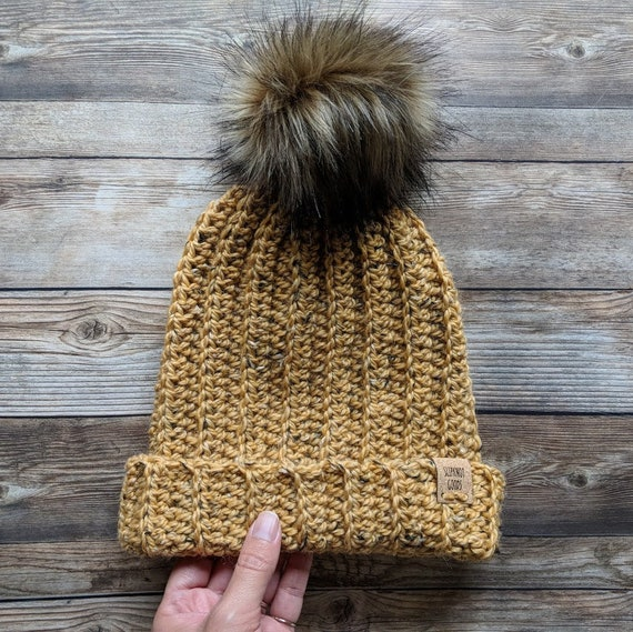 8e69f1479fb CUSTOM Hat City Tweed Slouchy Hat Faux Fur Pom Pom Hat Faux