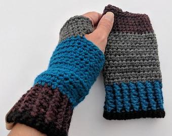 CUSTOM Colorblock Mitts, Fingerless Mitts, Crochet Mitts, Crochet Fingerless Mitts, Winter Mitts, Fingerless Gloves, Merino Gloves