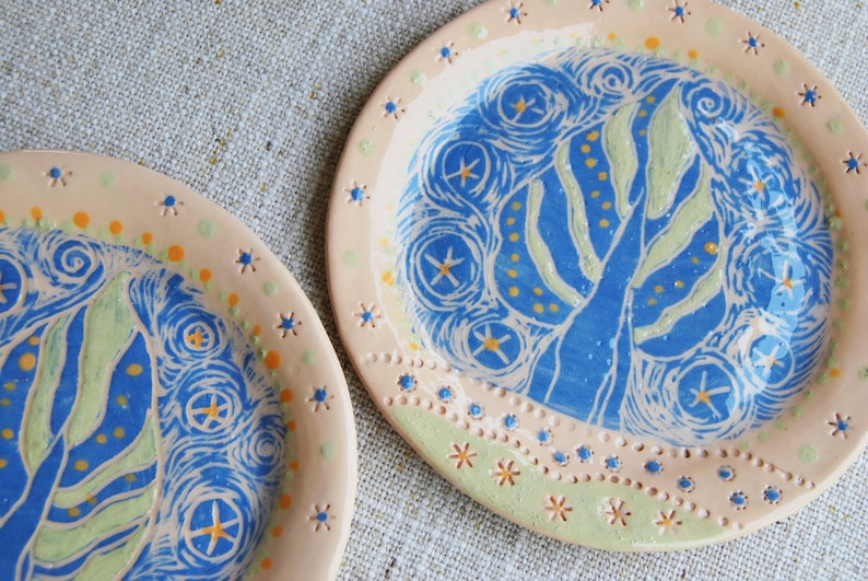 Tree of life wall serving handmade plate cake plates dessert Plates ceramic  dish