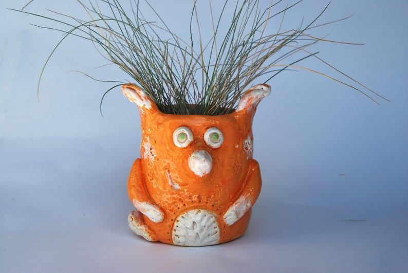 Fox  Orange pot Flower Ceramic planter Succulent pottery home image 0