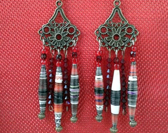 Earrings made of recycled paper and varnished with Swarovski crystals