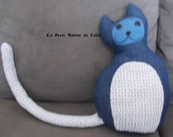 Blue Denim and gingham cat