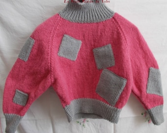 girl pink and grey sweater