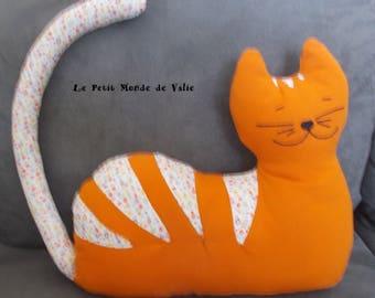 orange tabby cat floral multicolor
