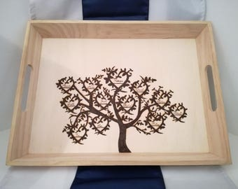 WOOD - Tree custom fingerprint engraved on a tray