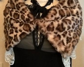 Châle,Col,Chauffe Épaule,En Fausse Fourrure,motifs léopard,Dentelle Crème,écharpe  femme,col femme,cadeau femme,accessoires femme 44432bb5e3bc