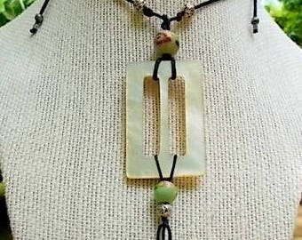 Upcycled, Found Object Pendant Necklace with Pearl, Aventurine and Porcelain Beads
