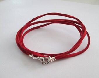 80 cm base de collier cordon suédine rouge et fermoir métal argenté