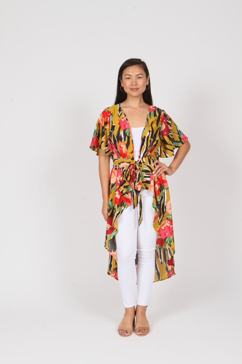 LIVE4TRUTH Mustard Striped Floral Tie-Front Duster Cardigan