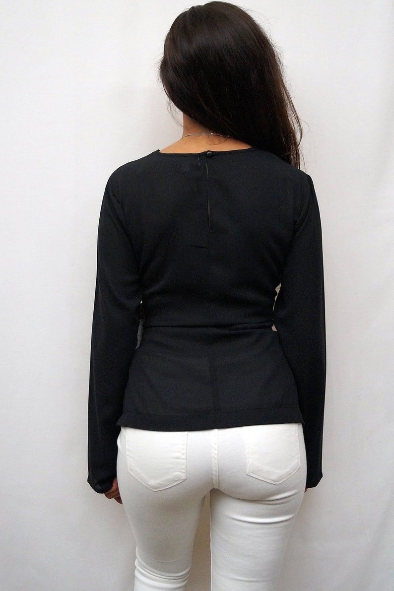 LIVE4TRUTH Long Sleeve Blouse with Side Seam /& Tie Front