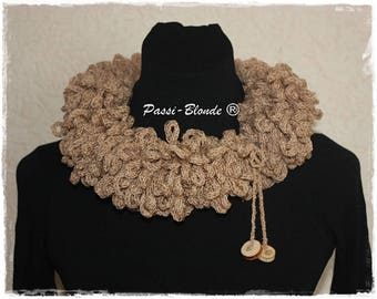 Choker, snood to knitting, original necklace. Neck warmer. Beige. Necklace.