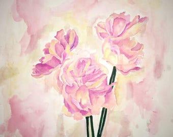 Watercolor Color Flower Trio