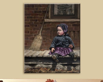 Vintage style art, Canvas Print, Little Girl on Porch, Made in USA