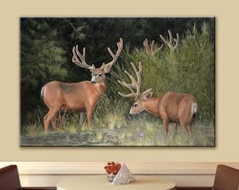 Velvet | Antlers | Trophy Buck | Deer Print | Wall Art | Buck Deer Print | Mule Deer | Deer Art | Canvas Print | Giclee Print | Art Print