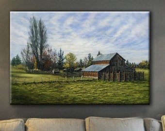 Landscape Painting with Barn, Personalized Canvas Print, Trees, Pasture, Clouds, Barn, Wall Decor, Made in USA