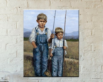 Fishing Art | Giclee Print | Canvas Print | Wall Decor | Fishing Decor | Fishing Painting | Landscape Print | Fishing Wall Art | Vintage Art
