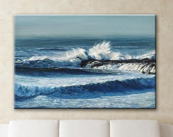 Ocean Painting | Seascape Wall Art | Giclee Canvas Print | Landscape Art | Ocean Waves Wall Art | Ocean Art | Crashing Waves Painting