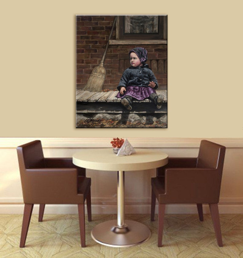Vintage style art Canvas Print Little Girl on Porch Made in image 0