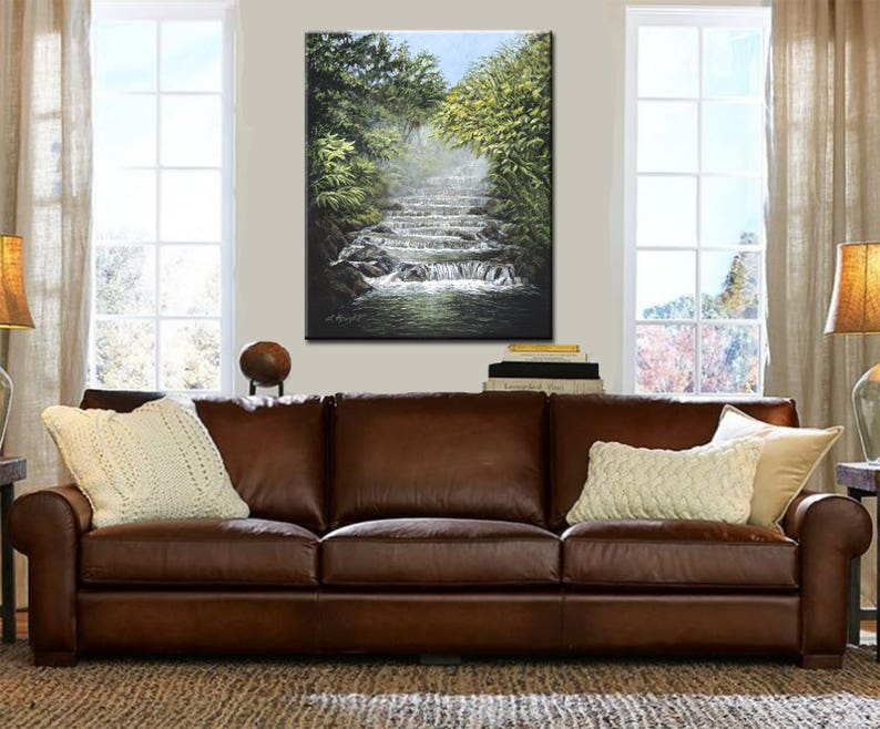 Waterfall painting  Wall Art  Stream  Fine Art Print  image 0