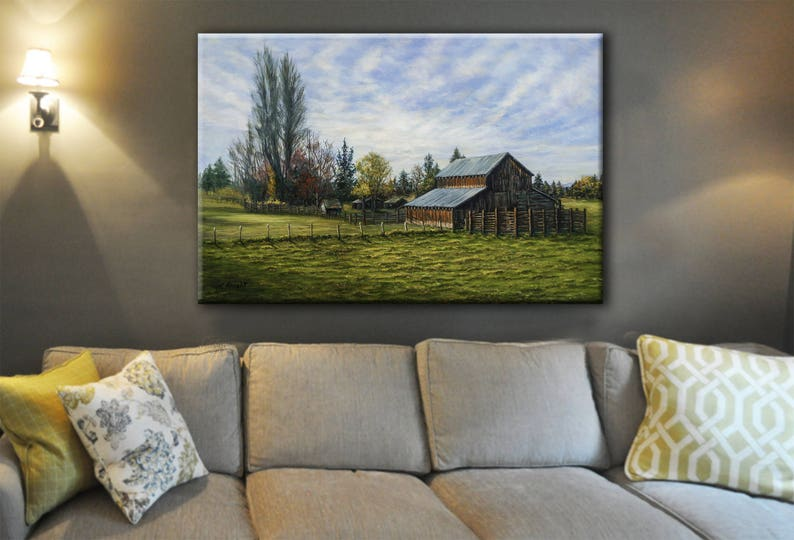 Landscape Painting with Barn Personalized Canvas Print image 0