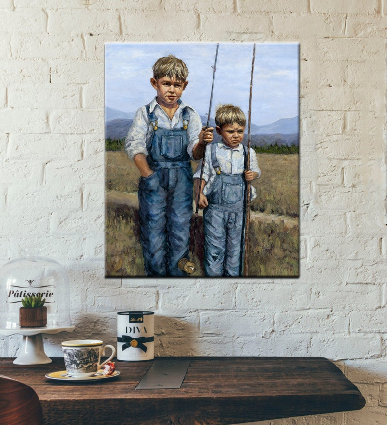 Fun Vintage Style Painting of Brothers Fishing  Figurative image 0
