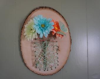 Flower & Mason Jar String Art