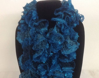 Variegated shades of blue and sequin crochet ruffle edged scarf