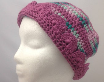 Women's Slouchy Winter Hat in Mauve and Green
