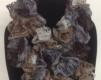 Gray, Light Brown, and Beige Crocheted ruffle edged scarf with metallic thread