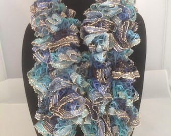Variegated Blue and Gold Ruffle Edged Scarf