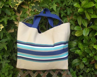 large tote bag in ecru and blue Deckchair canvas
