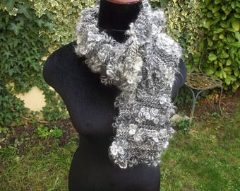 in shades of gray crochet scarf