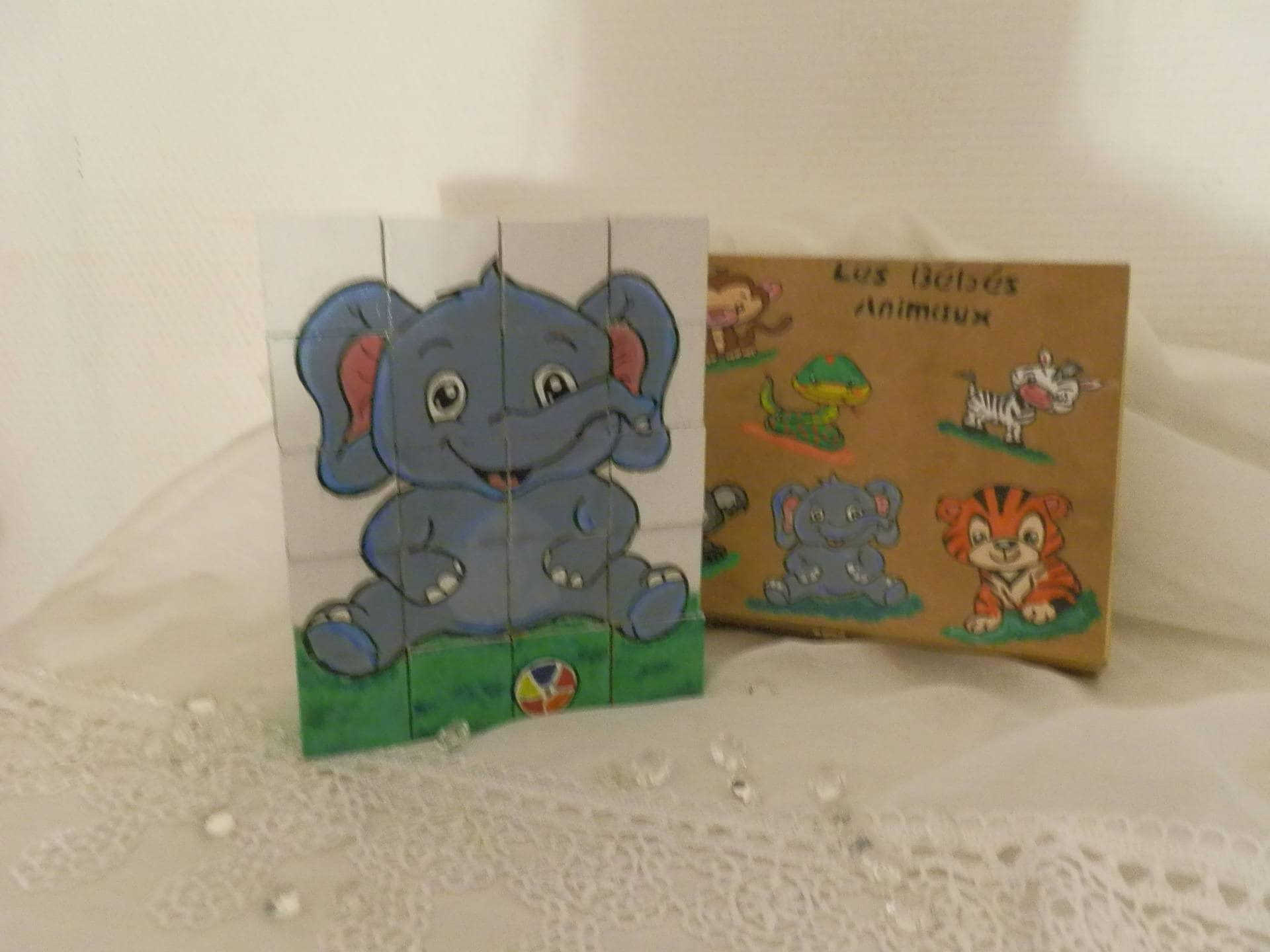 puzzle 20 cube en bois les b b s animaux et sa etsy. Black Bedroom Furniture Sets. Home Design Ideas