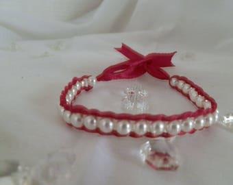 Satin and acrylic Bead Bracelet