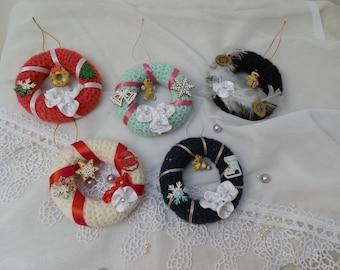 Small hanging woolen Christmas wreath