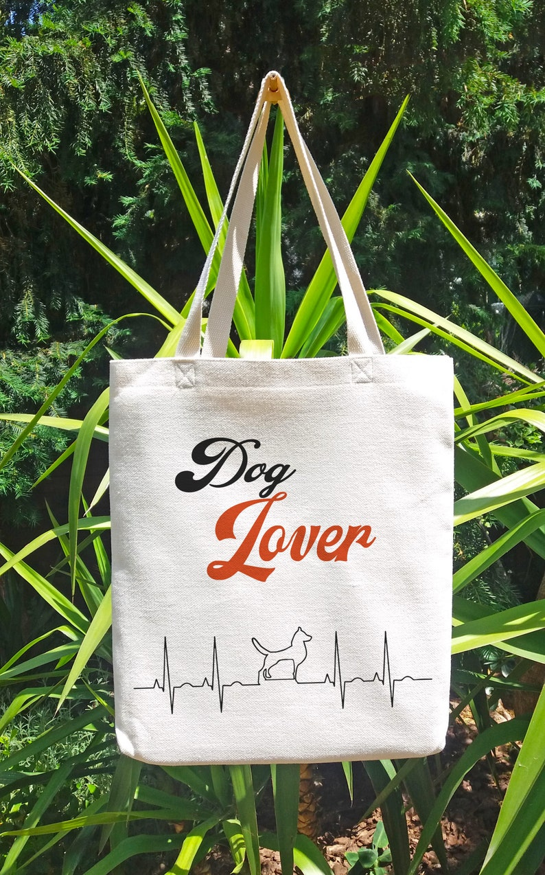 Dog lover Tote Bag canvas fabric with image of dog electrocardiogram Sublimation shopping bag Tote bag fabric