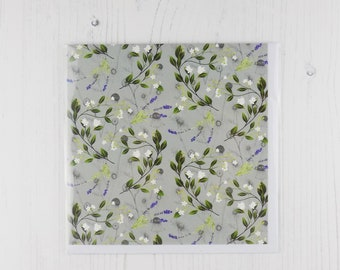 Lime Flower and Lavender Floral Greetings Card