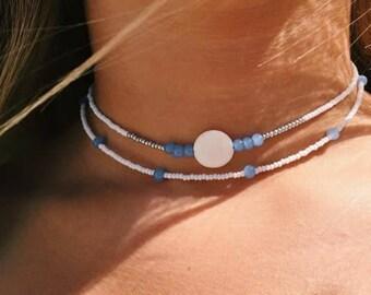 Baby blue summer necklace set