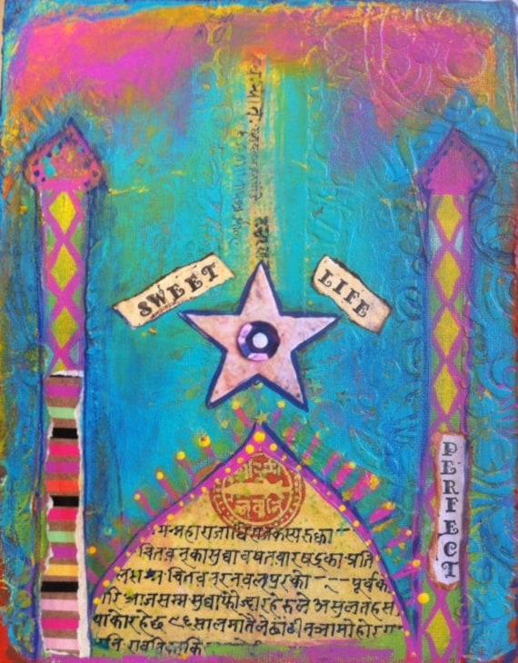 Original small painting /'Boho brilliance/' Mixed Media Collage art Arabesque art Happy Uplifting Bright Texture Moroccan art Inspiriation